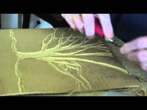 Cutting a lino block