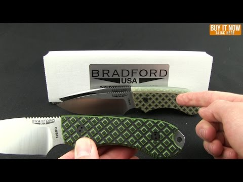 Bradford Knives Guardian4 Knife Toxic Green G-10 (Sabre/S30V/Black DLC)