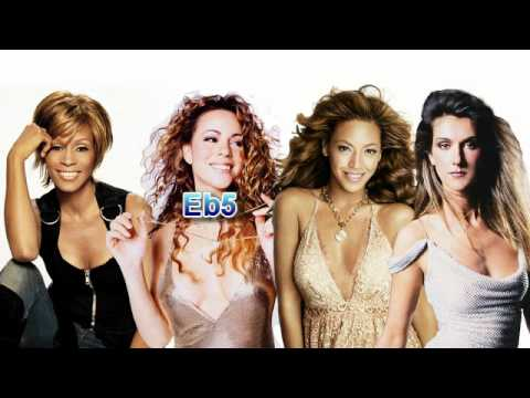 (HD) Whitney Houston vs. Mariah Carey vs. Céline Dion vs. Beyoncé (Studio Note By Note Comparison)