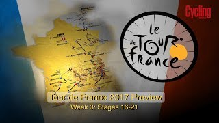 The final week of Tour de France 2017 is here so we have for you the preview of the last 6 stages, through Alps to Marseille and finale on Champs-Élysées in Paris. Who will win this years Tour de France? Fabio Ari, Chris Froome, Romain Bardet or anyone else? Let us know your 2017 Tour de France tips in comments.Subscribe to Cycling Weekly here: https://www.youtube.com/user/CyclingWeekly1?sub_confirmation=1Stage 10: Périgueux – Bergerac, 178kmSitting on the Dordogne river, Bergerac is famous for more than being a 80s detective drama series of the same name, the town is known for both its wine and tobacco. Some struggling riders may relish the shorter stage.Stage 11: Eymet – Pau, 203.5kmWith the tour nearing the Pyrénées, sprinters will want to get a victory here even if it's just to keep morale up for the upcoming climbs.Stage 12: Pau – Peyragudes, 214.5km (Summit finish)The race enters the Pyrénées from its traditional base, Pau, and as in 2016 the stage from the city will take in five categorised climbs, including the Col de Peyresourde immediately before the final climb to Peyregudes. The descent of the Peyresourde was the location of Chris Froome's stage-winning attack in 2016, where he put 13 seconds into his rivals on stage eight.Stage 13: Saint-Girons – Foix, 101kmThe second Pyrénéean stage takes in three main climbs, including the Col d'Agnes and the Mur de Péguère before dropping down into Foix for the finish. At just 100km, this stage is the shortest mountain stage in Tour de France history and should be set up for some exciting racing.Stage 14: Blagnac – Rodez, 181.5kmThe Tour returns to Rodez, having previously visited in 2015 as the race began its migration across to the Alps. Greg Van Avermaet continued Peter Sagan's run of second-place finishes in that edition, beating the green jersey wearer in sweltering heat on an uphill finish.Stage 15: Laissac-Sévérac L'Eglise – Le Puy-en-Velay, 189.5kmThe first category climb on the Tour's 15th stage will favour a breakaway, particularly with riders happier to spend a bit more energy with the prospect of a rest day on the horizon. With some tough days to come, this stage is unlikely to shape the GC in any dramatic fashion.More at:Cycling Weekly: http://www.cyclingweekly.co.uk/Facebook: https://www.facebook.com/CyclingWeeklyInstagram: https://instagram.com/cyclingweeklymagazineGoogle+: https://plus.google.com/103552890268543091591/postsTwitter: http://twitter.com/cyclingweekly