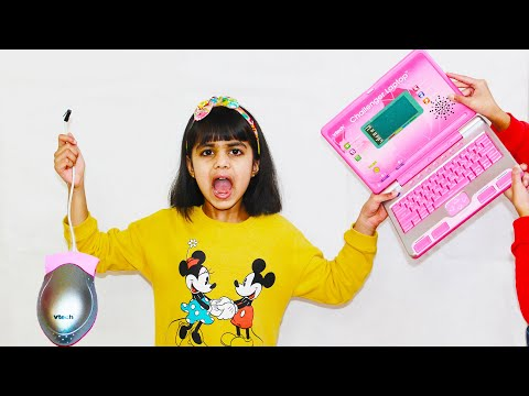 Ashu upset and Katy Cutie play toy computer for kids