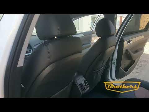 "Чехлы на Hyundai Sonata 7, серии ""Premium"" - коричневая строчка"