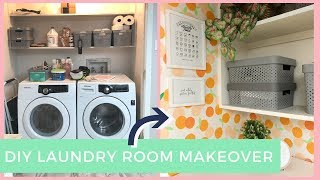 DIY COLORFUL LAUNDRY ROOM MAKEOVER! CLEAN CLOSET CHALLENGE!