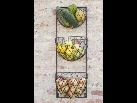 Wanddekoration und Staurraum Küche - mit Gemüse und Obst dekorieren-Wandkorb Eisen | VARIA LIVING
