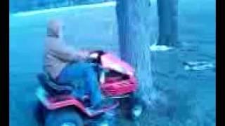 7. lawnmower into tree