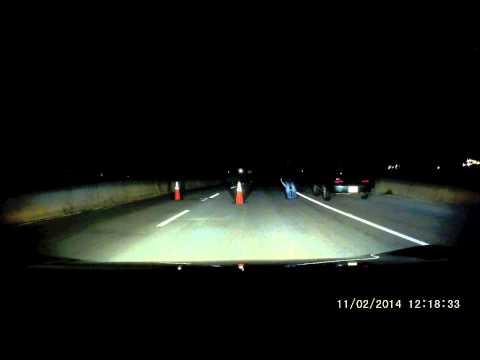Late night Suspicious roadblock dash cam
