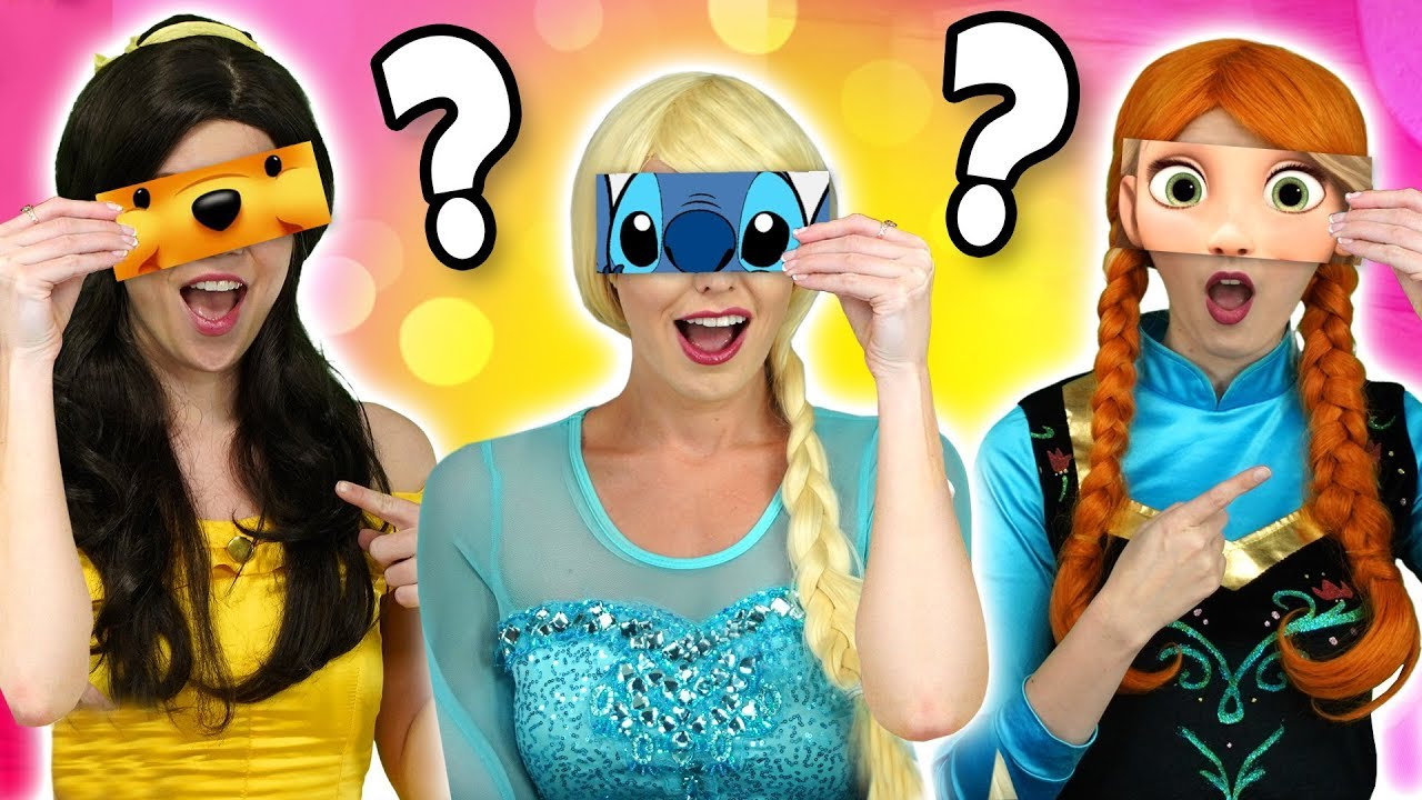GUESS WHICH DISNEY CHARACTER BY THE EYES? (We Play with Elsa, Anna and Belle) Totally TV Challenge