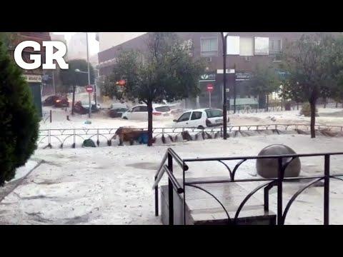 Inundan lluvias a Madrid
