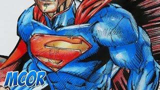 Dibujando a Superman  Acuarela Colores y marcador