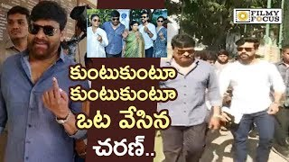 Ram Charan and Chiranjeevi Casting Vote with Family in Hyderabad