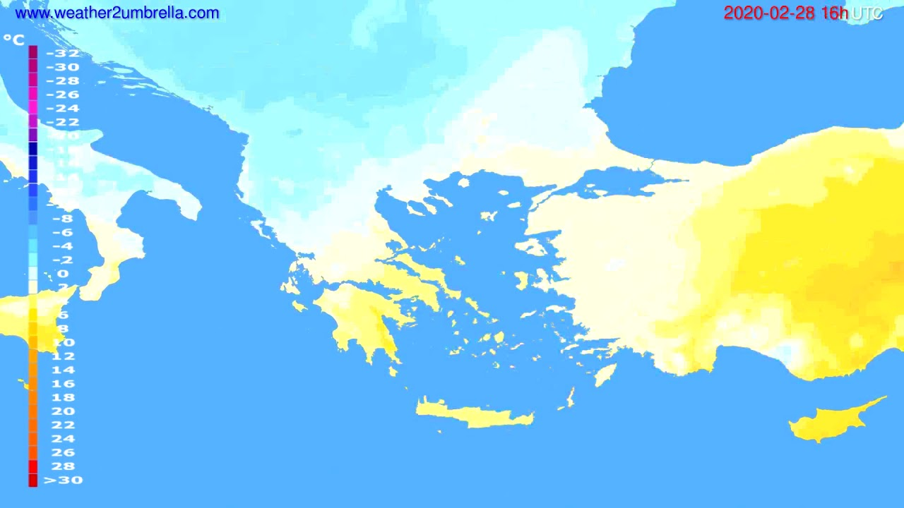 Temperature forecast Greece // modelrun: 12h UTC 2020-02-27