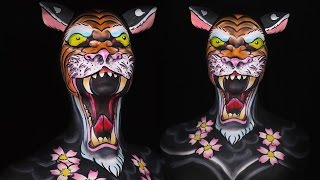 Old School Tiger Tattoo Makeup/Body Paint Tutorial by Madeyewlook
