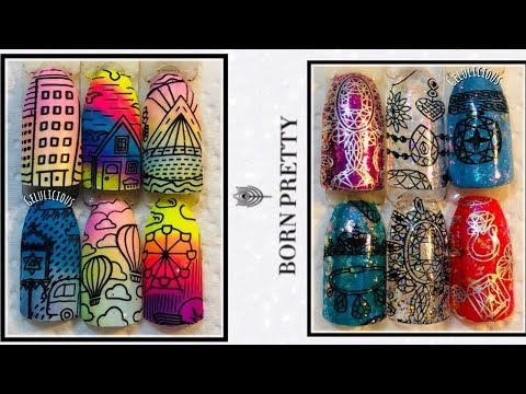 Gel nails - Born Pretty  Sketches & Jewels Stamping Plates  Review & Swatches