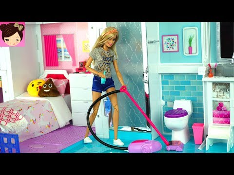 Barbie House Cleaning Morning Routine Grocery Store Supermarket Toy Shopping