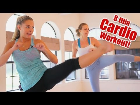 8 Minute Fat Burning Cardio Workout & Full Body Stretch Fitness! How To With Donnie