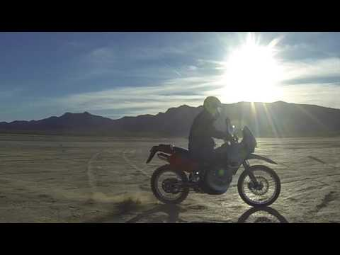 Jean Dry Lake with KTM 640 adventure ADV, motorcycle