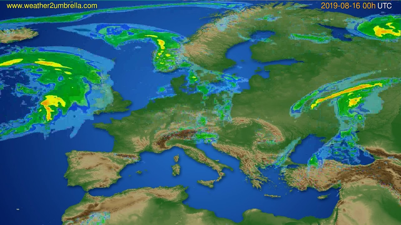 Radar forecast Europe // modelrun: 12h UTC 2019-08-15