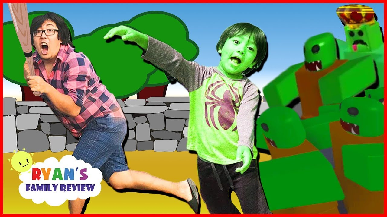 Ryan Plays Zombie Attack on Roblox! Gaming Night with Ryan's Family Review - YouTube