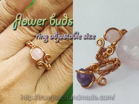 Simple flower buds ring adjustable size - Women's Day gift - Jewelry with stones without holes 321