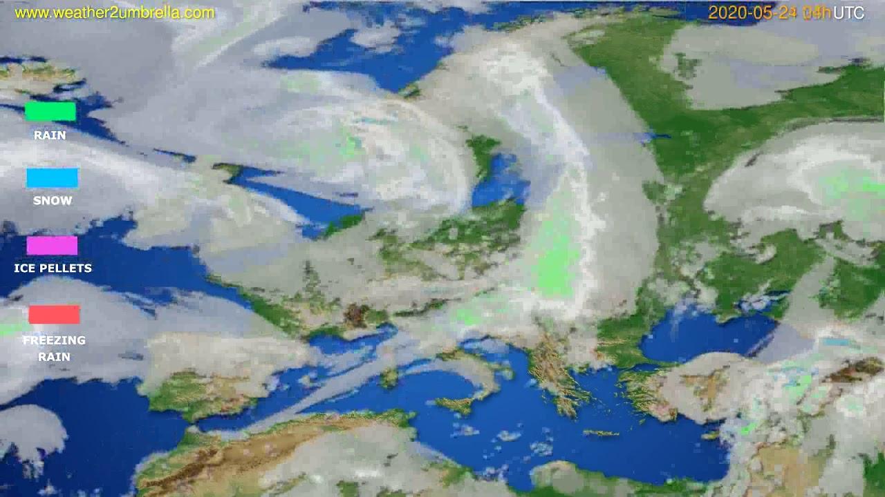 Precipitation forecast Europe // modelrun: 12h UTC 2020-05-23