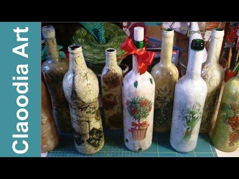 decoupage su bottiglia