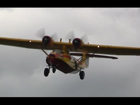 Vintage Airplane Landing – Engine Fire
