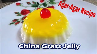 China grass jelly is a yummy  and easy to make snack and kids just love it.  It is made from china grass strands also called agar agar A great substitute to   gelatine hence a great sutbstitute for kids. For more recipes click on  on to http://reshuskitchen.blogspot.com/