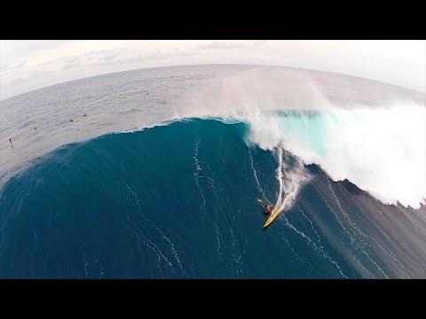 Phantom drone footage surfing huge waves at Jaws Maui, Peahi, Hawaii 2014