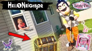 Hello Neighbor in Real Life!!! Twisty Petz Toy Scavenger Hunt! (Buried Treasure)