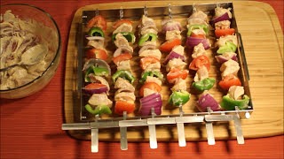 Innovative shish kabob skewer rack set that allows to flip all six skewers simultaneously to make cooking SAFER, QUICKER, and UNIFORM. www.KonExcel.com Wheth...
