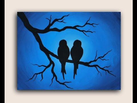 Acrylic Painting on Canvas : Love Birds