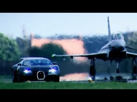 Top - Amazing challenge as Richard Hammond races a Euro Fighter Typhoon in the Bugatti Veyron. Who will win the horizontal vs vertical 2 mile race? Clip taken from series 10 episode 3. Subscribe...