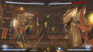 https://twitter.com/HdJammerz - Best way to get a hold of me !https://www.twitch.tv/hdjammerz - my twitch channel Corner combo I found with Wonder Woman (this has probably been found already, or there is a more damaging combo)Notations for the combo:D1,2 xx BF2(MB), F2,3, 3 xx DB3, 2,2 xx BF3, D1, 2 xx BF1(The 3 after the F2,3 has to hit meaty and the Amalthea Bash(BF3) has to hit meaty after the 2,2, string)I do the combo on 3 different characters because characters have different defensive stats in the game. But it does over 400dmg in generalBlack Adam - 1000 defRobin - 950 defGorilla Grodd - 900 def Here are the social links to the teams that support me:Unequalled Media:https://twitter.com/UnequalledMedia - UM's Twitter https://www.youtube.com/user/simplyunequalled - UM's YT channel http://unequalledmedia.com/events/ - UM's website Situational Damage: twitch.tv/situationaldamage - Situational Damage's Twitchhttps://twitter.com/SituationalDam - Situational Damage's Twitterhttps://www.youtube.com/user/MashOnPad - Situational Damage's YTHope you enjoy the video =]