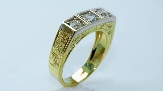 Handmade, 18KT gold ring antique style, with three diamonds old cut