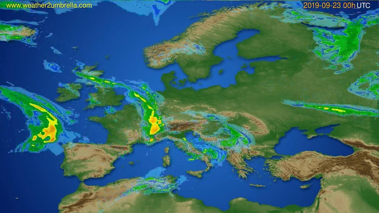 Radar forecast Europe // modelrun: 12h UTC 2019-09-22