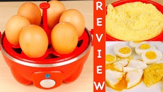 Hi Guys, today I'm reviewing the Dash Rapid Egg Cooker. LINK to Dash Egg Cooker:  http://amzn.to/2sJ85MT  This looks like a cute gadget and I got it in Red. It's also available in Aqua, Black and White. This model cooks 6 eggs at a time. There is another model that cooks 12 eggs at a time. Today, I'll test out this model that cooks 6 eggs. Basically this is supposed to take the guess work out of when your eggs are done. The unit measures about 7.5 inches across and 6.5 inches tall. The cord measure almost 31 inches long. Of course you can leave it on your countertop because it's so small. With this unit, you can make hard, medium or soft boiled eggs as well as poached eggs and omelettes. Included is the base with a heating plate, it's not removable, the power button and indicator light, boiling tray and handle, omelette bowl, poaching tray, lid with steam hole and handle, and measuring cup with a pin to poke whole eggs. The cup is what you use to measure out water, there are markings for hard, medium and soft boiled eggs as well as omelette or poached egg. There's a time guideline in the instruction manual for large eggs. If you're using jumbo eggs, you'll have to add a little extra water and it'll take more time to cook. There are a few recipes in the manual for deviled eggs, eggs benedict and egg salad. You can also steam foods other than eggs in this unit and there are instructions for that in the manual. You can steam fresh and frozen vegetables, fish, dumplings and even tortillas. Yes, I know this looks like a cheap plastic toy especially in red but let's test it out and see if it actually works. We'll try hard boiled eggs. Pour cold water up to the hard line on the measuring cup, that's 2 ounces of water in case you lose this cup. Med 1 oz soft ⅞ omelette 1.25 oz Pour water onto the heating plate. Put the handle on the boiling tray and put the tray on the heating plate. Pierce the wider end of each egg with the pin and set the eggs on the tray with the hole facing up. Put the lid on and then plug in the unit. Press the power button to start cooking, the blue indicator light will come on.When all the water has evaporated from the heating plate, a buzzer goes off so you know the eggs are finished cooking. I think the person who designed the buzzer was hard of hearing because it's so loud, it'll give you a heart attack. It's not a buzzer, more like a fire alarm. It'll scare your children, pets and anyone else in the house. Turn the button to off, it does not shut of automatically. Now the hard boiled eggs are ready.  For easier peeling, put the eggs in cold water. It's been 5 mins, let's peel the egg. Now let's try a poached egg. Fill the measuring cup with cold water to the Omelette/Poached Line and pour water onto the Heating Plate. The tray is non stick but should be sprayed with cooking spray. I'll wipe it with a little oil since I don't have any spray. The boiling tray goes on the heating plate, then the poaching tray. Break the egg into each section. Put the lid on, plug in and turn it on. To make an omelette, fill cold water to the omelette/poached line. Pour the water onto the heating plate. Wipe the bowl with a little oil or spray it. Put the boiling tray on, the the omelette bowl. Whisk 1 or 2 eggs and pour it into the bowl. Cover with the lid and plug it in. You can also use the poaching tray to make two different omelettes with different fillings like cheese in one, vegetables in the other or a regular omelette in one and an egg white omelette in the other. To clean, let the unit cool completely. It's not dishwasher safe. Wash the parts with warm soapy water and dry. The base can be wiped down with a damp cloth. The heating plate may get stained over time from hard water and you can use a vinegar solution to clean it. There are instructions in the manual.For storage, put all the parts in and lock the lid by turning it. Don't lock the lid when cooking, just when storing the unit away. If you want to try this egg cooker, I've put a link in the description below. As always, I hope this review was useful. Please like and share this video. It's always nice to see how something works before you buy it, so subscribe for more reviews and I'll see you next time. Thanks for watching :)