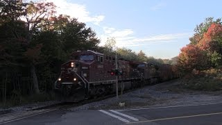 Canadian Pacific 9644, CP 9774, CP 8630 (Train 100 - Vancouver to Toronto) (490 axles) arriving five hours behind schedule and taking the hole at Mactier for...