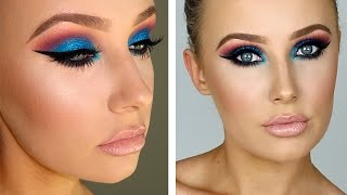 FULL GLAM: Sparkly Blue/Pink Eyes + Flawless Skin | Lauren Curtis by Lauren Curtis
