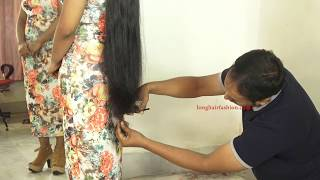 Very Long Hair Triming by Man, A Beautiful Rapunzel with Silky Long Hair