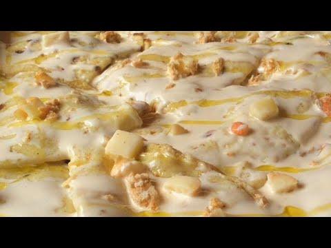 crepes di mare cremose con polpa di granchio, salmone e gamberetti