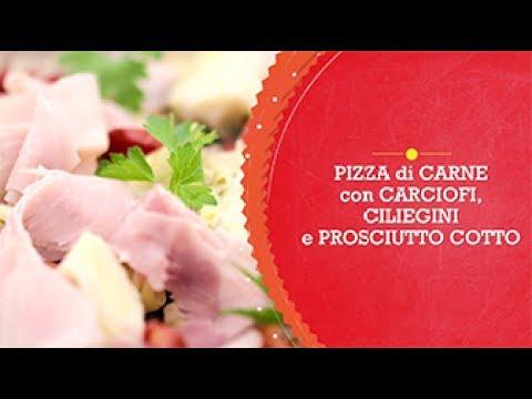 Pizza di carne con carciofi, ciliegini e prosciutto cotto - Scuola di cucina