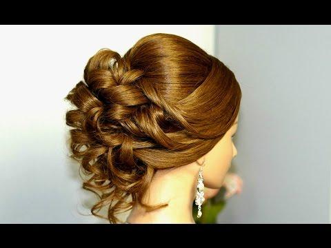 Bridal prom updo,  hairstyles for long hair. Прическа на выпускной, свадебная прическа.