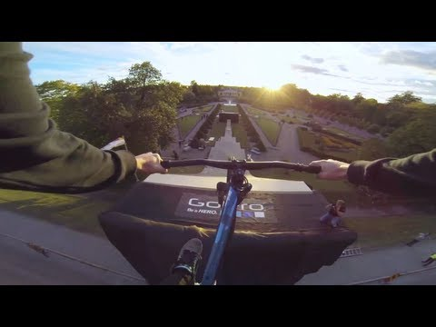 15m mountain biking road gap GoPro POV (видео)