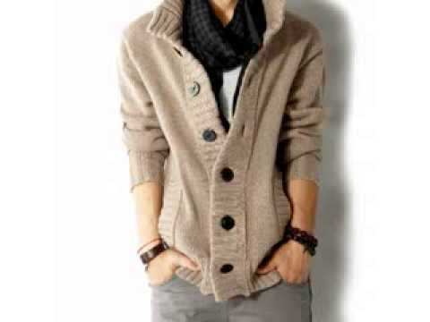 Cable Knit Cardigan Sweater Men