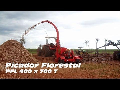 Picador Florestal PFL 400 x 700 T picando árvores inteiras