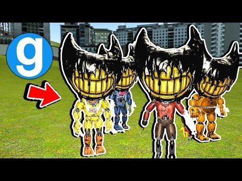 Garrys Mod - Brand New Bendy FNAF 4 Nightmare Heads! Bendy and The Ink Machine Garry's Mod Sandbox