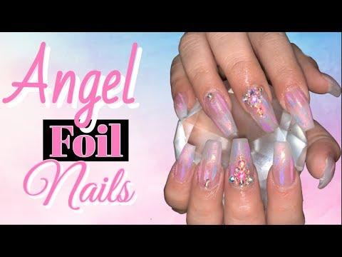 Acrylic Nails Design  Angel Foil Nails  Coffin Nails