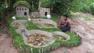 Building Mud House Mouse And Fish Pond For Red Fish