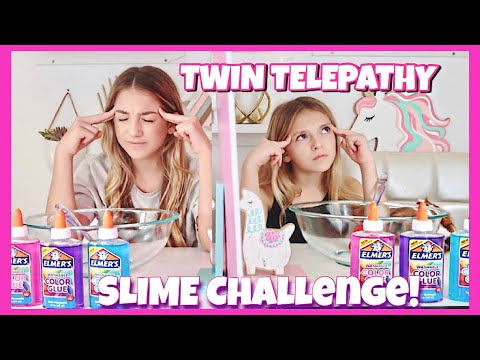 Twin Telepathy Slime Challenge  3 color slime  Quinn Sisters