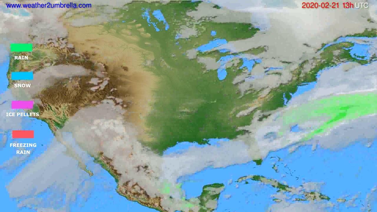Precipitation forecast USA & Canada // modelrun: 12h UTC 2020-02-20